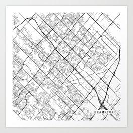 Brampton Map, Canada - Black and White Art Print