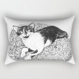 Tuxedo kitten ink drawing Rectangular Pillow
