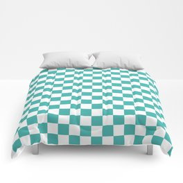 Small Checkered - White and Verdigris Comforters