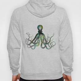 Octopus marine life watercolor art Hoody