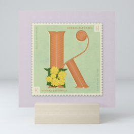 Sellos Naturales. Letter K. Flower: Kerria Japonica or Japanese Rose Mini Art Print