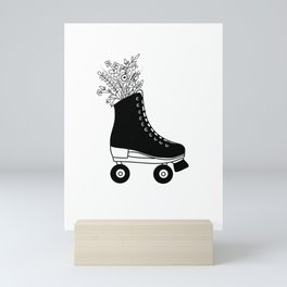 Black and White Botanical Floral Bouquet Roller Skate Mini Art Print