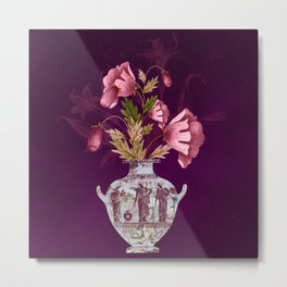 Grecian Marble Hydria with Antique Pink Flora on Celestial Plum Metal Print
