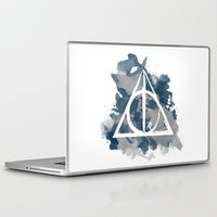 deathly hallows Laptop & iPad Skins featuring The Deathly Hallows (Ravenclaw) by FictionTea