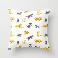 puppies Throw Pillows featuring Puppies! by ascaliers