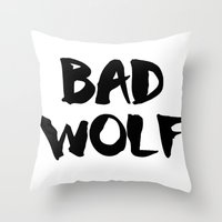 bad wolf Throw Pillows featuring Bad Wolf  by Freak Clothing