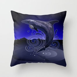 Dolphin - Night Throw Pillow