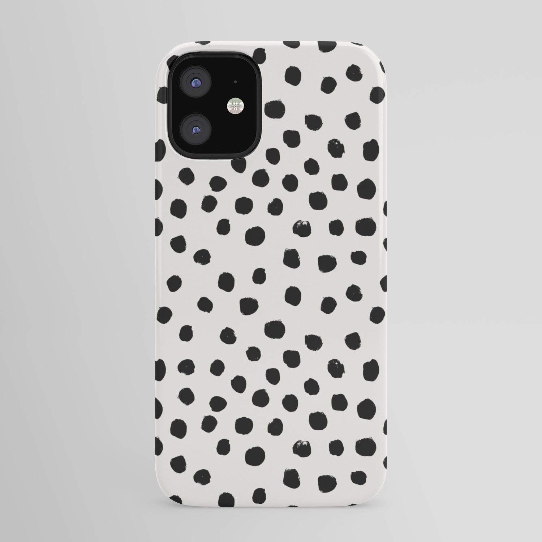 Preppy brushstroke free polka dots black and white spots dots ...