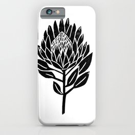 Linocut Protea floral black and white minimal flower spring iPhone Case