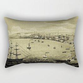 Vintage Bridgetown Barbados Pictorial Map (1820) Rectangular Pillow