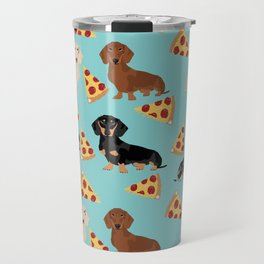 dachshund pizza multi coat doxie dog breed cute pattern gifts Travel Mug