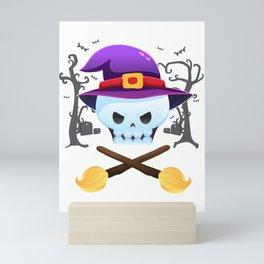 witch skull and crossbones broomstick halloween Mini Art Print