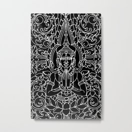 Gates of the Royal Palace Cambodia-Black and White Metal Print