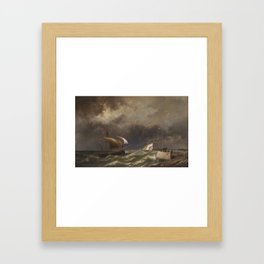 HERMANUS KOEKKOEK JNR (DUTCH 1836-1909) A DUTCH LUGGER, A FRENCH KETCH AND A MERCHANTMAN OFF THE COA Framed Art Print