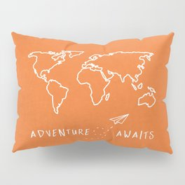 Adventure Map - Retro Orange Pillow Sham