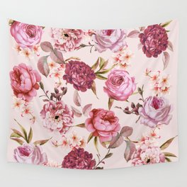 Blush Pink and Red Watercolor Floral Roses Wall Tapestry