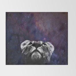 Galaxy Lion Throw Blanket