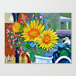 Flowers In The Den Canvas Print