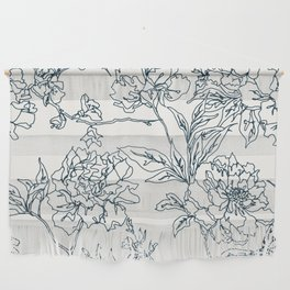 Navy and Cream Vintage Chinoiserie Botanical Floral Toile Wallpaper Pattern Wall Hanging