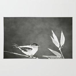 Little bird on bamboo branch. Rug