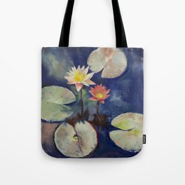 Water Lily Painting Tote Bag