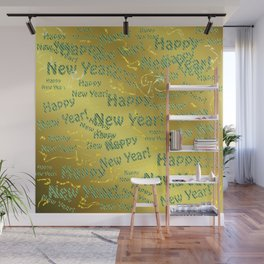 blue Colorful design happy new year text in gold, festive, elegant gift for anyone in the family Wall Mural