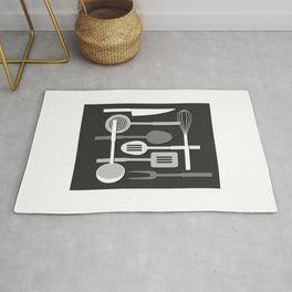 Kitchen Utensil Silhouettes Monochrome III Rug
