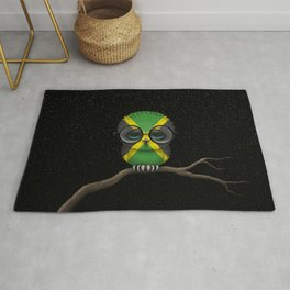 Baby Owl with Glasses and Jamaican Flag Rug
