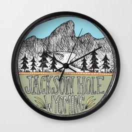 Jackson Hole circle illustration Wall Clock