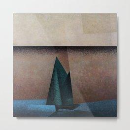 Bright Aqua Sails at Morning, Sailboat landscape painting Lyonel Feininger Metal Print