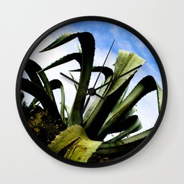 Large Giant Green Aloe Plant with Bright Blue Sky Wall Clock