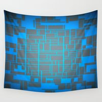 computer Wall Tapestries featuring Turquoise Blue & Gray Computer by PureVintageLove