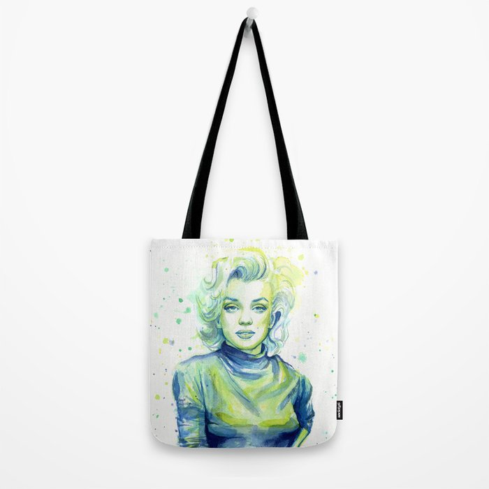 Marilyn Portrait Watercolor Painting Actress Old Hollywood Tote Bag