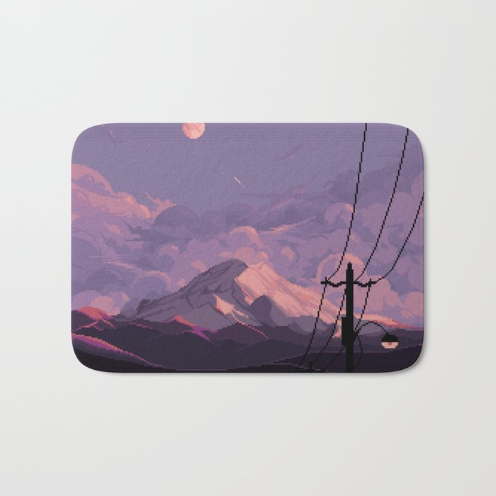 Mt Rainier with Powerlines Bath Mat