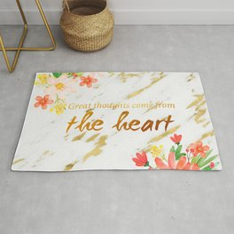 Marble - quote, Great Thoughts come from the heart - Gold and flowers Rug