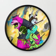 Floating BunnyHead Western Action  Wall Clock