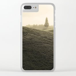 Tree in fog from a distance Clear iPhone Case