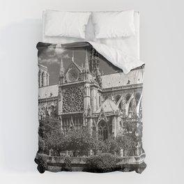 Notre Dame, Paris, France Ile de la Cite black and white photograph / black and white photography Duvet Cover