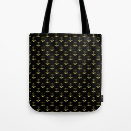 Gold Scales Of Justice on Black Repeat Pattern Tote Bag