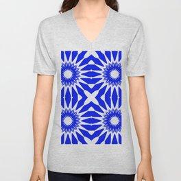 Royal Blue & White Pinwheel Flowers Unisex V-Neck