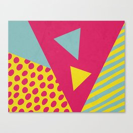 Pink Turquoise Geometric Pattern in Pop Art, Retro, 80s Style Canvas Print