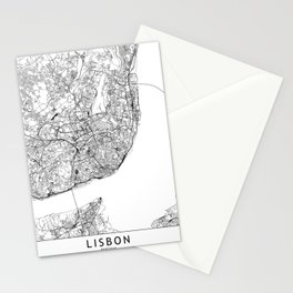 Lisbon White Map Stationery Cards