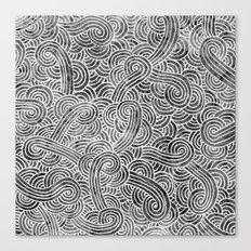 Grey and white swirls doodles Canvas Print