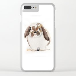 Bunny Watercolor (Flop Eared Bunny) Clear iPhone Case