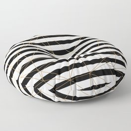 Gold Geometric Pattern Black and White Stripes Floor Pillow