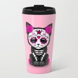 Cute Pink Day of the Dead Kitten Cat Travel Mug