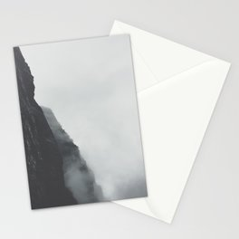 Black And White Misty Cliff Photography Mystery Foggy Landscape Stationery Cards