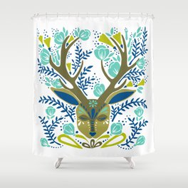 Floral Antlers – Earth Tones Palette Shower Curtain