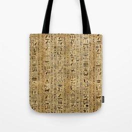 Egyptian hieroglyphs on papyrus Tote Bag