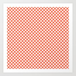 Living Coral Color of the Year in Coral Orange and White Checkerboard Art Print